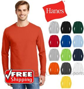 Hanes-Tagless-Long-Sleeve-T-Shirt-Comfort-Cotton-Soft-Plain-Blank-Tee-Mens-5586
