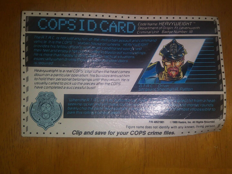 COPS N CROOKS HEAVYWEIGHT FILE CARD CARD FILE Vintage Action Figure Cops I.D. Bio 1989 e56b5c