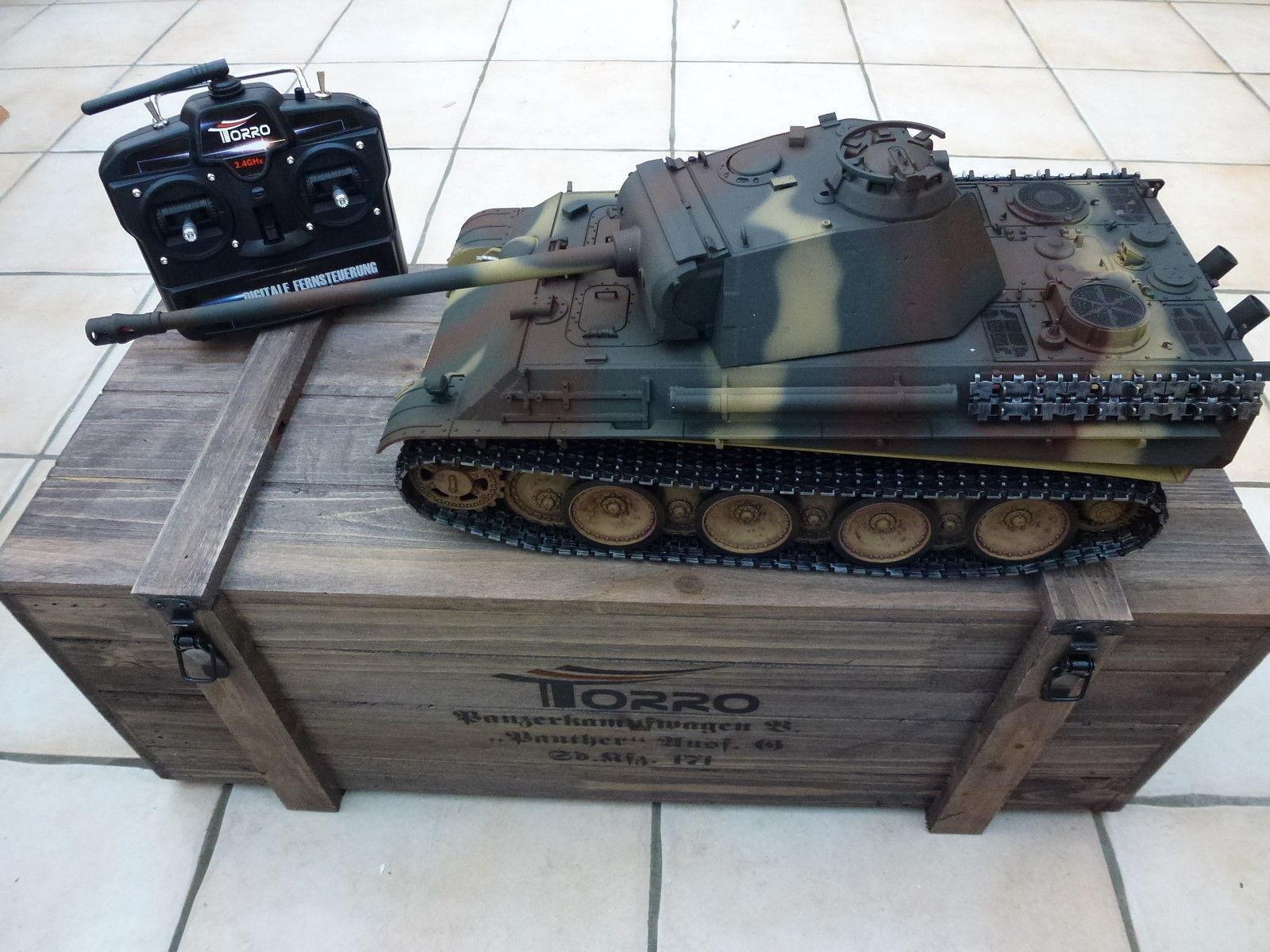 Torro 1/16 RC Panther Ausf G German-IR Tank Camo 2.4GHz metallo 360 scatola in legno