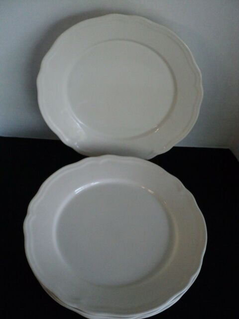 Set of 5 IKEA Dinner Plates  ARV Scalloped Rim White Cream Color EUC 15199