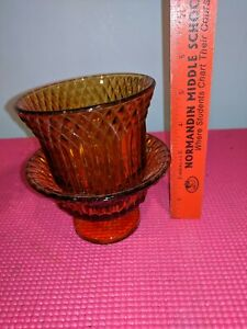 VINTAGE-INDIANA-TIARA-GLASS-AMBER-DIAMOND-POINT-2-PC-CANDLE-HOLDER