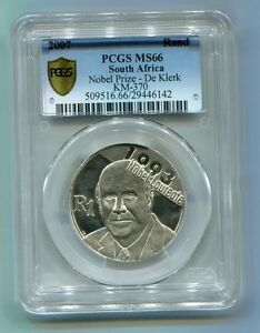 F-W-De-Klerk-Nobel-Prize-R1-Silver-2007-PCGS-MS-66-South-Africa-Rare-Coin