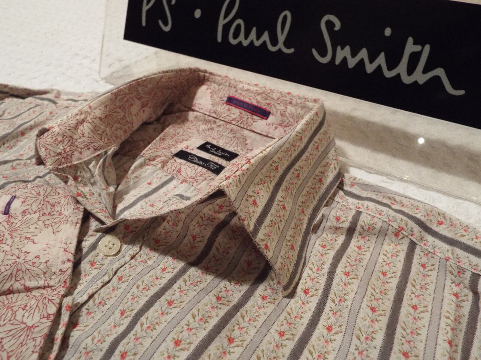 PAUL SMITH Mens Shirt  Size 15  (CHEST 40 )  RRP +  FLORAL STRIPES