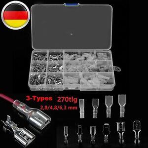 270er Flachstecker Set Kabelschuhe Sortiment Quetschverbinder Flachsteckhülsen