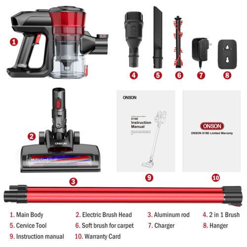 ONSON Cordless Vacuum Cleaner Handheld Stick Cruise Upright LED Light UK Stock