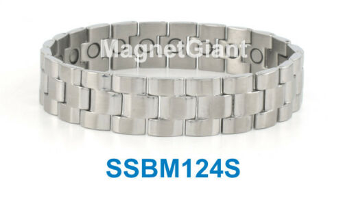 Magnetic Silver Men/'s stainless steel link bracelet 5000 Gauss 316L SSBM124S
