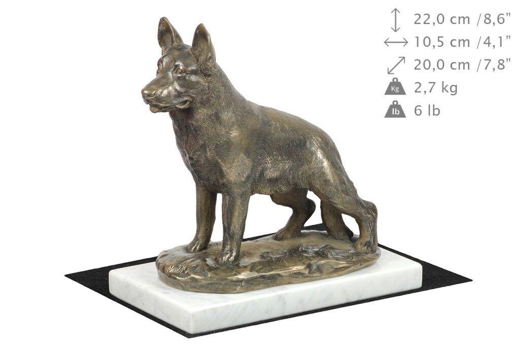 German Shepherd - figurine figurine figurine made of Cold Cast Bronze on the bianca marble, Art Dog b0dd03