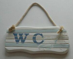 Wooden Shabby Chic Beach Sign Nautical Seaside Nautical Ornament Bathroom Plaque