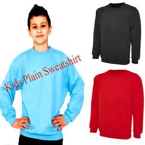 96a0f0282c60ca Image is loading Unisex-Kids-Plain-Fleece-Classic-Sweatshirt-Sweater-School-