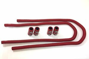 44-034-Universal-Stainless-Heater-Hose-Kit-Aluminum-End-Caps-Red-coating