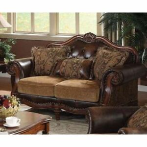 Acme Furniture Chenille Dreena Leather Sofa Loveseat Chair Living Room Set 0549