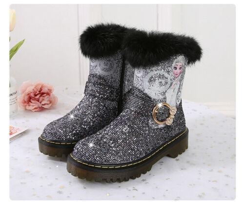 2020 Winter Kids Girl ANNA ELSA Princess Fancy Up Party Martin Boots Furry Boots