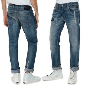 REPLAY-jeans-uomo-GROVER-SCAR-straight-elasticizzato-destroyed-vintage-con-toppe