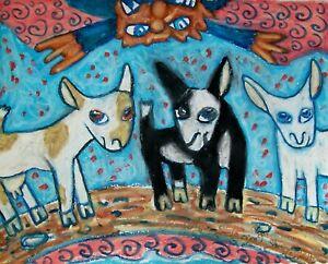 NIGERIAN-DWARF-Goats-Gruff-with-Troll-Dairy-Goat-Art-Print-8-x-10-Signed-KSAMS