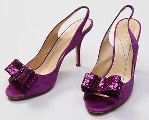 c1c4505525f1 Kate Spade New York Purple Sequin Glitter Bow Peep Toe Slingback ...