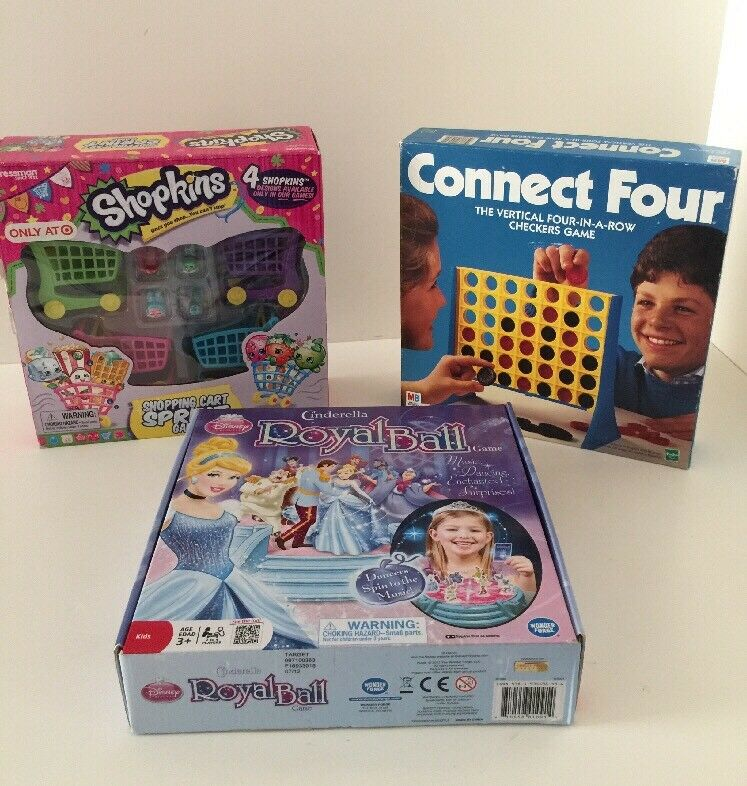 Kids Game Bundle  Shopkins Cart Sprint Game - Connect 4 - Cinderella Royal Ball