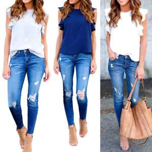 Moda-Verano-Mujer-Chiffon-Casual-manga-corta-camiseta-blusa-camiseta