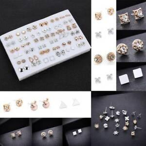 36-Pairs-Set-Earrings-Women-Crystal-Flower-Silver-Gold-Zirconia-Ear-Stud-Jewelry