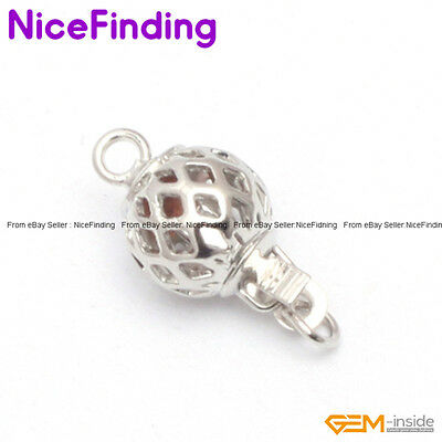 8mm White Gold Plated Hollow Ball Clasp Jewelry Design Making Findings  GP0022