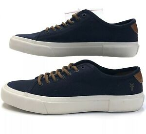 New Frye Ludlow Low Lace Up Woven Navy Sneakers Mens Size