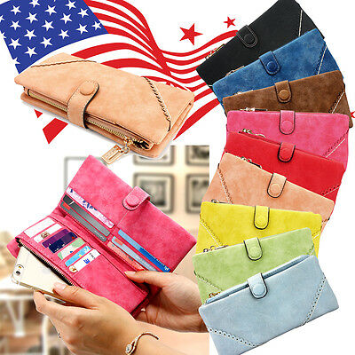 New Women Fashion Leather Card Wallet Button Clutch Purse Lady Long Handbag Bag