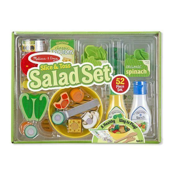 Melissa Doug Slice Toss Salad Play Food Set With 52 Wooden And Felt Pieces For Sale Online Ebay