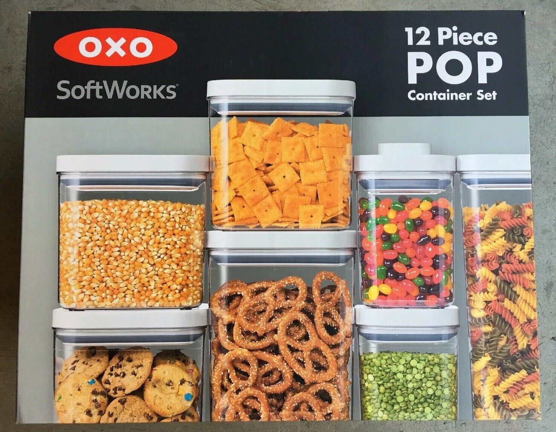 OXO SoftWorks conteneurs avec Pop Couvercle Joint étanche Facile Bpa-Free 12 compter NEUF