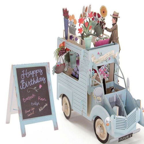 English 3D Pop Up Flower Car Greeting Card Happy Birthday Anniversary Invitation