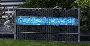 Zaun Beleuchtung | Led Leuchte Gabionen Stein Zaun Beleuchtung 165cm 360 Blau 7591