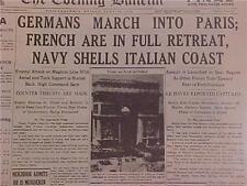 VINTAGE NEWSPAPER HEADLINE~WORLD WAR 2 GERMAN NAZI ARMY PARIS FRANCE FALLS WWII~