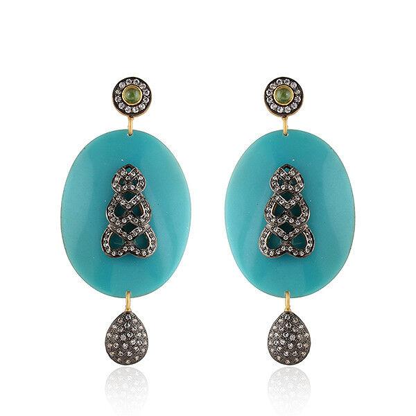 Handmade Green Tourmaline Zircon bluee Bakelite Antique Designer Earrings Jewelry