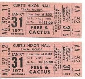Free-amp-Cactus-Concert-Ticket-Set-of-2-1971-Tampa-Pink