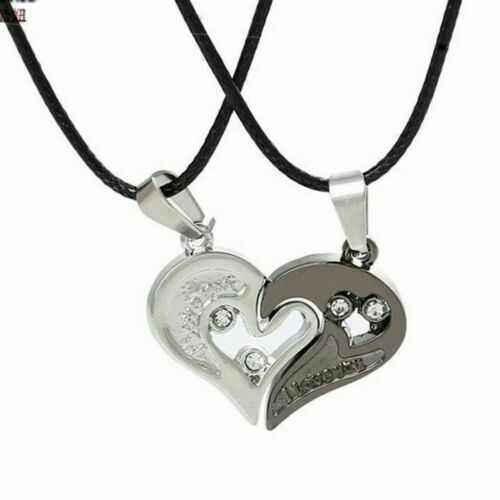 His and Hers Chain Love You Heart Men Women Couple Pendant Necklace Gift UK
