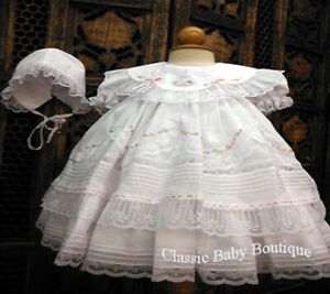NWT-Will-039-beth-White-Fancy-Lace-Dress-3pc-Set-Preemie-Bonnet-Bloomers-Baby-Girl