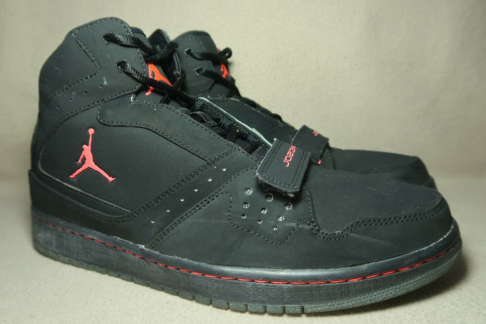 NIKE JORDAN 1 FLIGHT STRAP Black/Infra Red Basketball Trainers / Casual wild