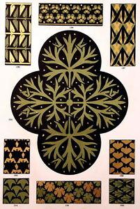 Floral Decor Art Nouveau Ornaments Liberty Engraving Print