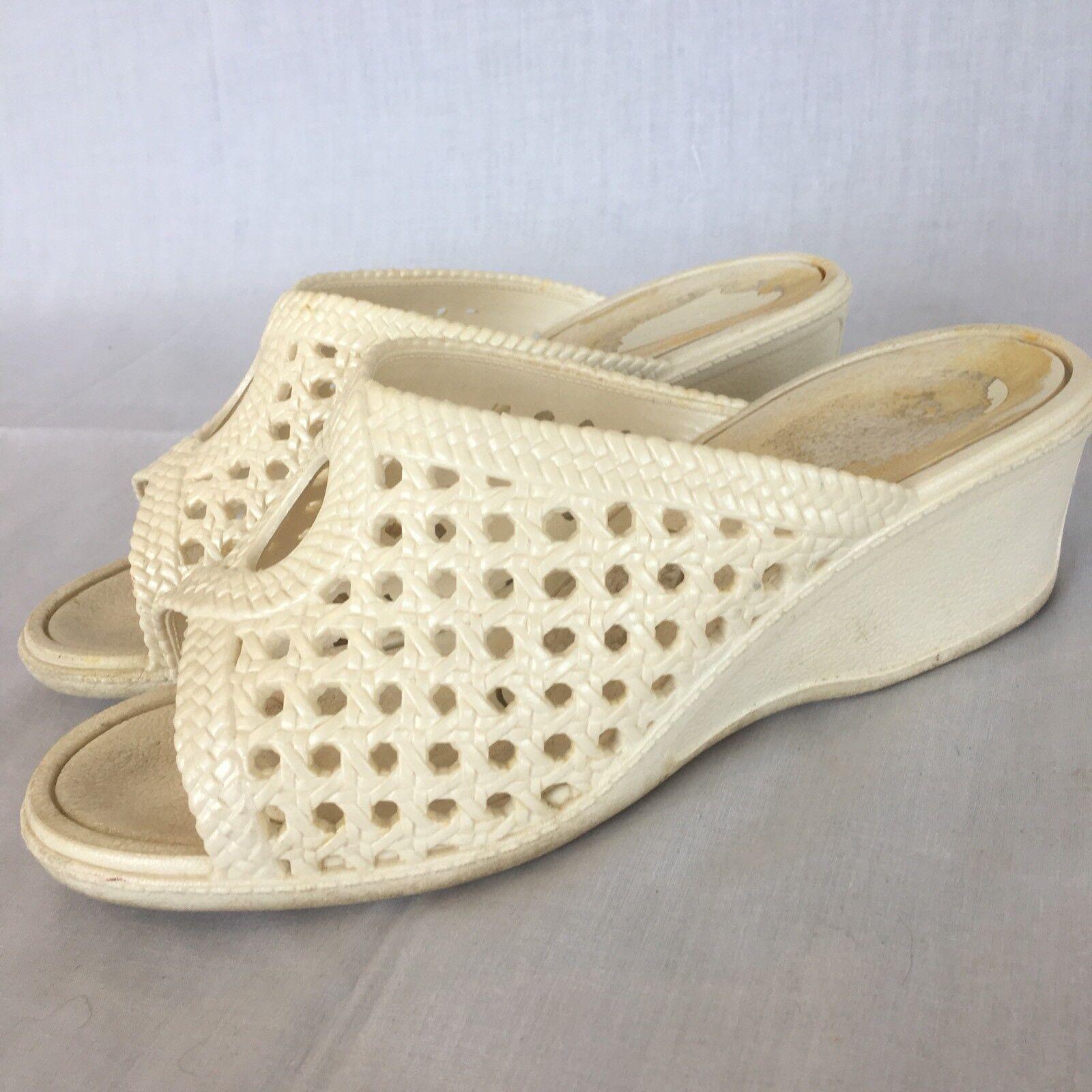 Vintage White OTAFUKU Large Sandal Shoes White Vintage Japan Therapy Massage Original Version 46472f