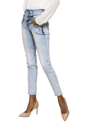 Women/'s High waist skinny slim stretch Jeans Trousers Light Blue Sizes UK 6-14