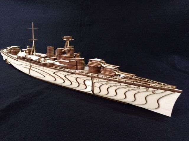 Laser Cut Wooden WW2 HMS Hood Battlecruiser 3D Model Puzzle Kit