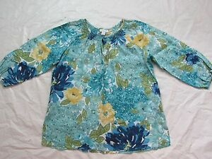 WOMENS-blue-floral-3-4-SLEEVE-SHIRT-TOP-CHARTER-CLUB-SIZE-16-ME80