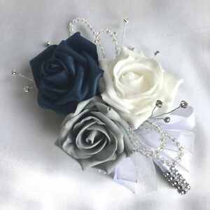 Image Is Loading LADIES CORSAGE NAVY BLUE WHITE Amp GREY ROSES