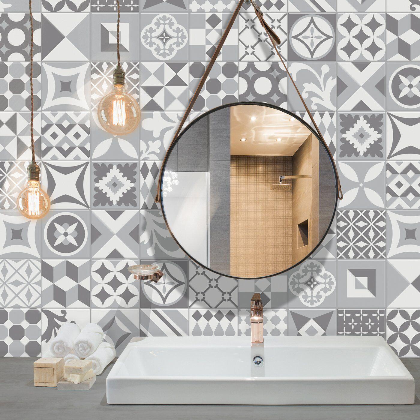 - Smart Tile Vintage Gallo Mosaic Gray White Peel And Stick