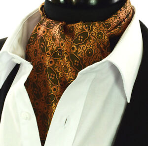Mens Red with Brown /& Gold Paisley Design Cotton Ascot Cravat Kerchief  Pocket Square