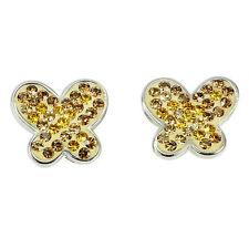 Dainty Yellow Cubic Zirconia .925 STERLING SILVER EARRINGS Butterfly Design