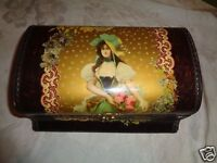 ANTIQUE VICTORIAN GIRL CELLULOID MAIDEN ROSES VIOLETS SEWING VANITY DRESSER BOX