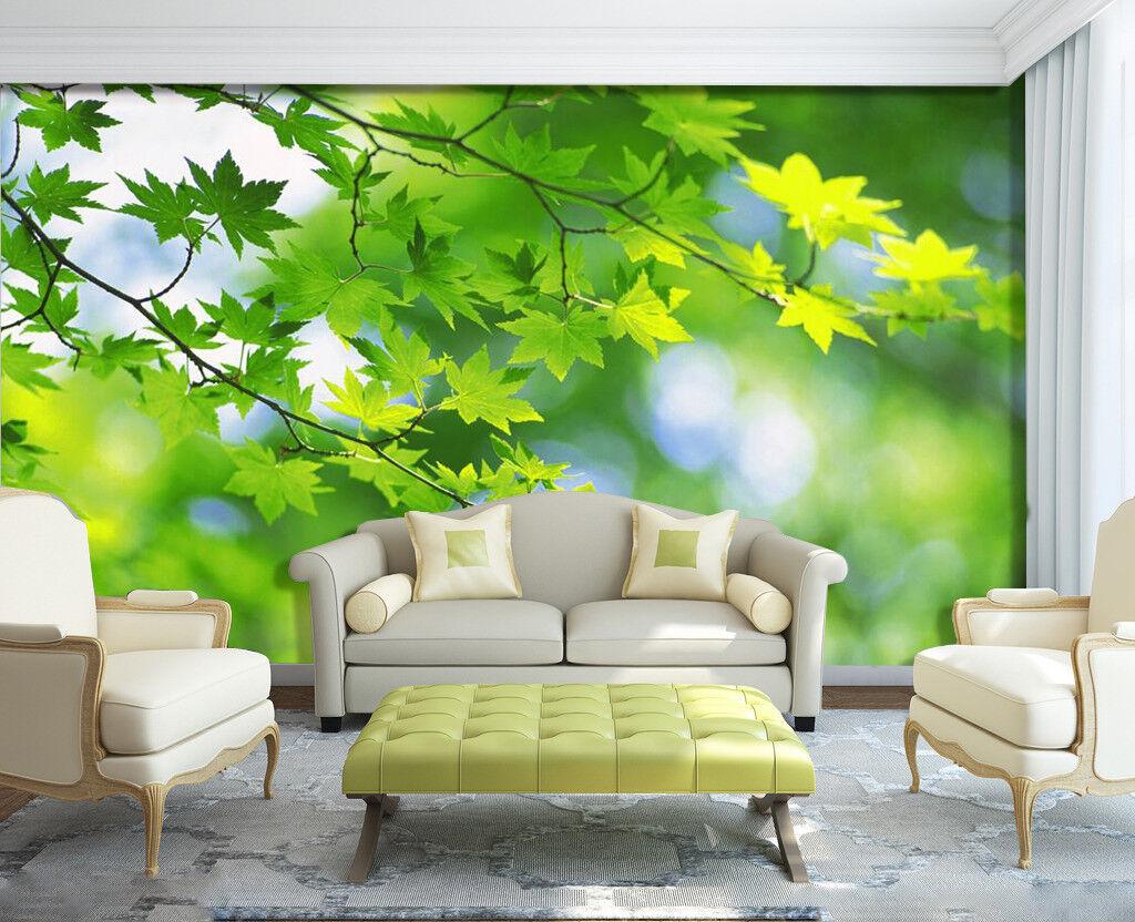Hojas Verde 3D 3D 3D 7409 Wallpaper Mural Papel Pintado Mural Pared de Impresión Pared Verano de Estados Unidos 37271b