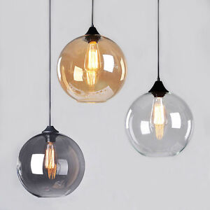 Modern vintage pendant ceiling light glass globe lampshade fitting image is loading modern vintage pendant ceiling light glass globe lampshade aloadofball Choice Image