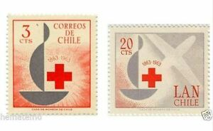Chile-1963-668-69-Centenario-del-Cruz-Roja-Red-Cross-MNH