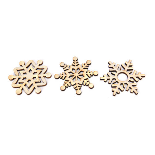 10 Assorted Wooden Snowflake Laser Cut Christmas Tree Hanger Decor Ornament