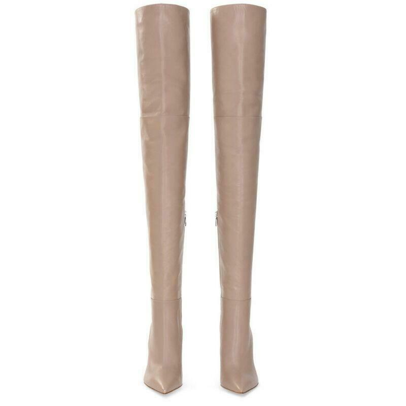 Women's Leather Over Knee Boots Boots Boots Combat Military Block Heel Pointy Toe shoes Y163 42f582